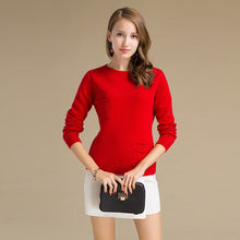Bulk Wholesale New Designs For Ladies Sweater Red Color Crew Neck Woolen Sweater