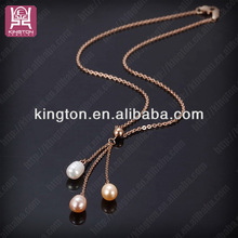 ifeer tassel 3 pearl with different color design thin long chain necklace