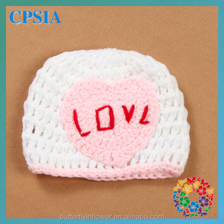 white pink heart shape pattern knit crochet baby beanie newborn hat
