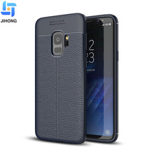 Newest wholsale silicone leather texture tpu black mobile phone back cover for samsung galaxy s9 case