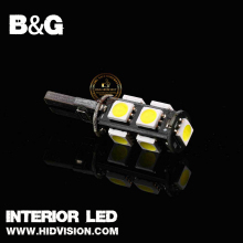 Super White T10 Wedge 9-SMD 5050 LED Canbus Error Free Wedge Door Light Bulb W5W 2825