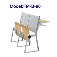 FM-B-96 Wood folding school desk and chair for college stair classroom