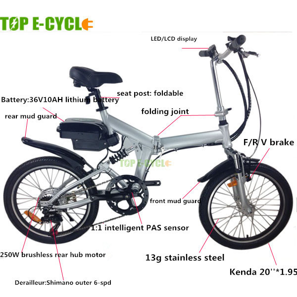 Top E-Cycle Popular CE Approval Cheap Best Selling 36V 250w Folding Ebike