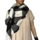 square shawl acrylic shawl woven scarf tartan black and white plaid scarf winter neck warmer
