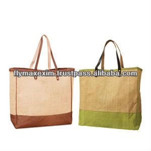 jute bag with leather handles