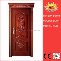 6 panel V groove solid wooden door for entry SC-W085
