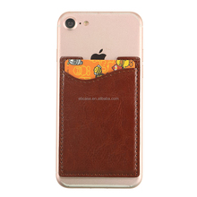 Custom Adhesive Smart Pocket Cell Phone Credit Leather Card Holder Case