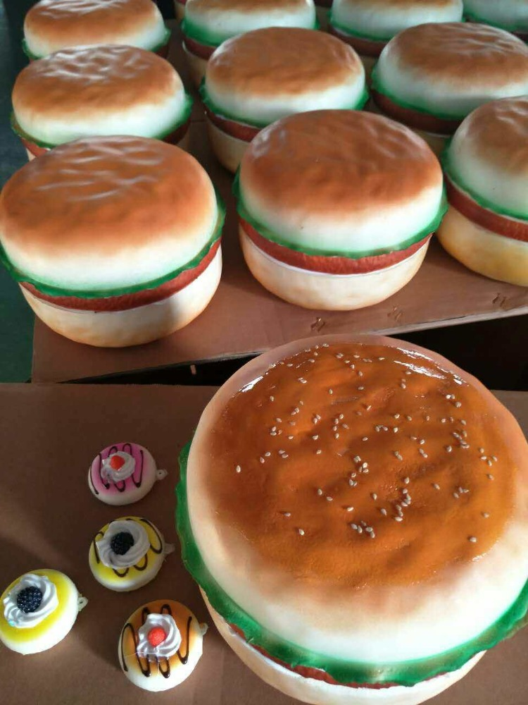 Cream bun model/Fake hamburger series/ Simulation bread with vegetables for fridge magnet Fake Hamberger promotion product for K