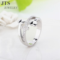 JTS Micro Pave CZ Stone Special Heart Shape and Cross Rings 18K White Gold Plated Women Engagement Bands or Rings Jewelry R082