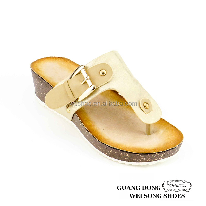 ladies nude comfort buckle wedge fashion flip flop women shoes