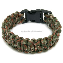 Fashion wholesale handmade outdoor survival paracord bracelet with plastic buckle