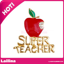 Women's Rhinestone Teacher Red Apple with Letters Brooch