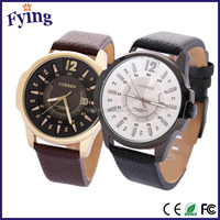 fashion watch man watch China brand leather yiwu watch/stainless steel back water resistant montre