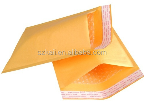 Custom paper wrap bubble pack kraft envelope with adhesive sealing