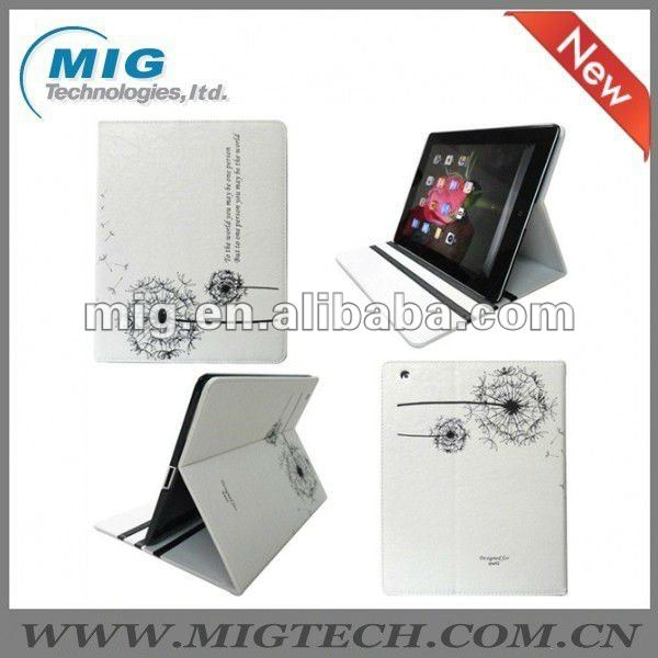 Dandelion Folio Leather Case for Ipad 2 3, for ipad case, for ipad3 case