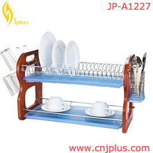 JP-A1227 Hot Sale space saving double tier metal standard size standing dish drainer