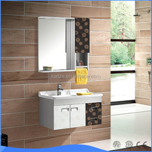 Simple Design Wall Hanging Mirror Cabinet and Basin Stainless Steel Bathroom Vanity