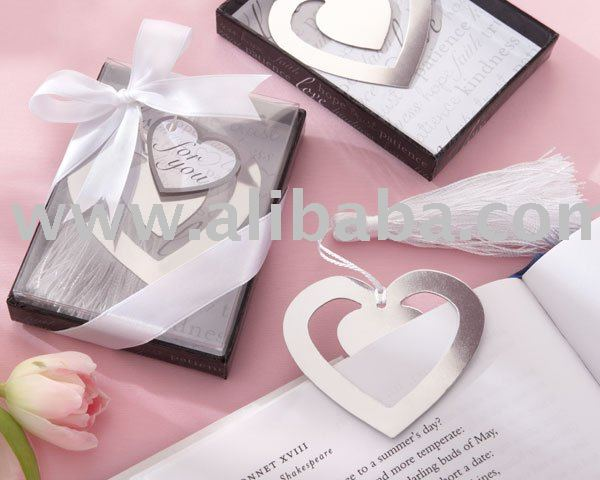 "wedding favor of ""Love Story"" Silver-Finish Heart-Shaped Bookmark with Elegant Silk Tassel"