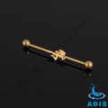 Wholesale fashion jewelry gold plated surgical steel ear industrial barbell bars