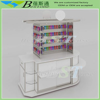 Custom retail merchandising unit rmu for mobile case, modular phone cases kiosk with ADJ slatwall system