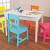 Rectangle kids table white painted playing table with 4 colored chairs