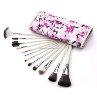 12 pcs Cosmetic Facial Make up Brush Kit Makeup Brushes Tools Set + rose flower Leather Case