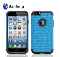 Hottest&newest mold cheap price high quality heavy duty case for apple iphone 6 diamond case light blue&black