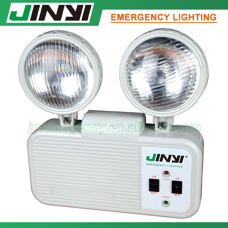led twinspot emergency ligth with battery /portable flame-retardant plastic twin heads light/led rechargeable led emergency lamp