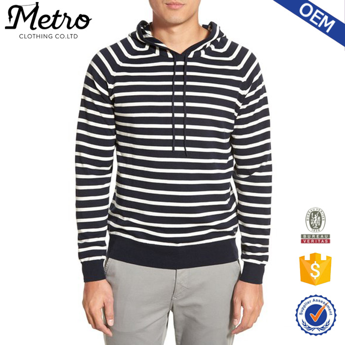 OEM Service Pullover Stripe Cotton Mens Hoodie with Drawstring Hood