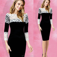 Ladies Lace Cocktail Bodycon Dress Pencil Midi Official party Dress Fall Autumn Dress