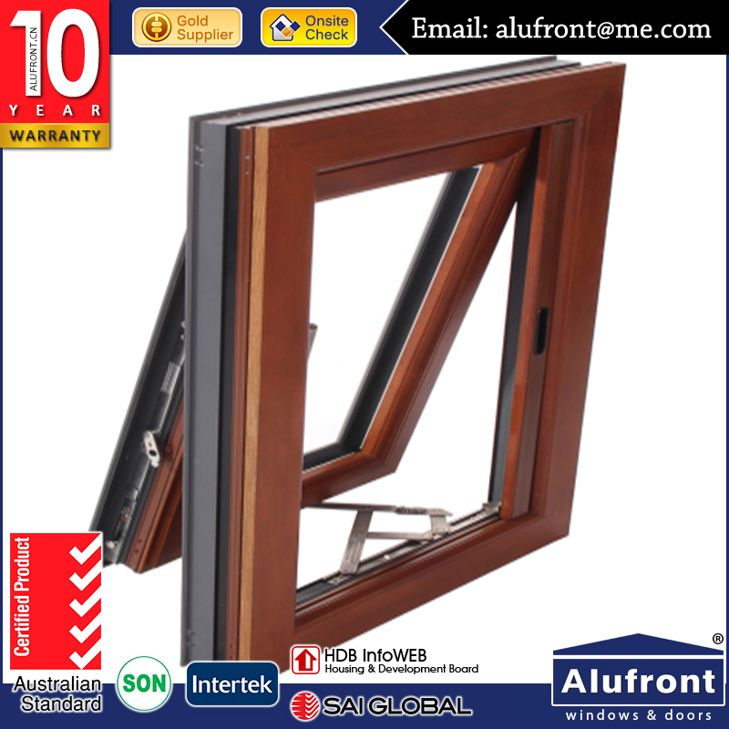 Top 5 supplier AS2047 aluminum composite wood top hung window with fly screen in high quality