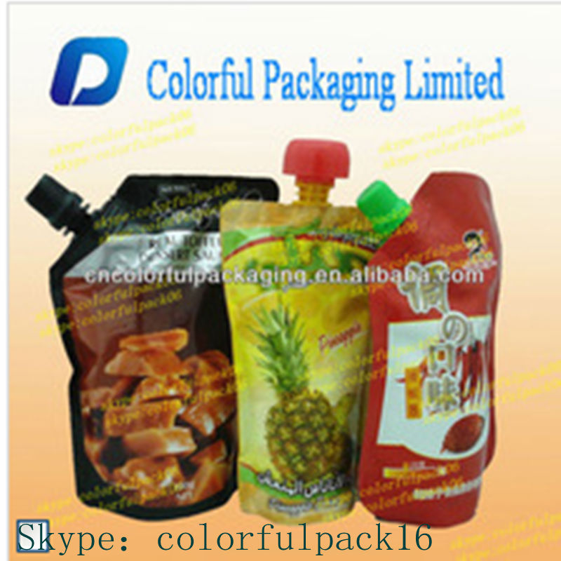 water plastic bag/stand up liquid packing container/fruit beverage stand up pouch with spout