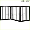 3 Section Black Finish Solid Wood Dog Fence Homex_BSCI Factory