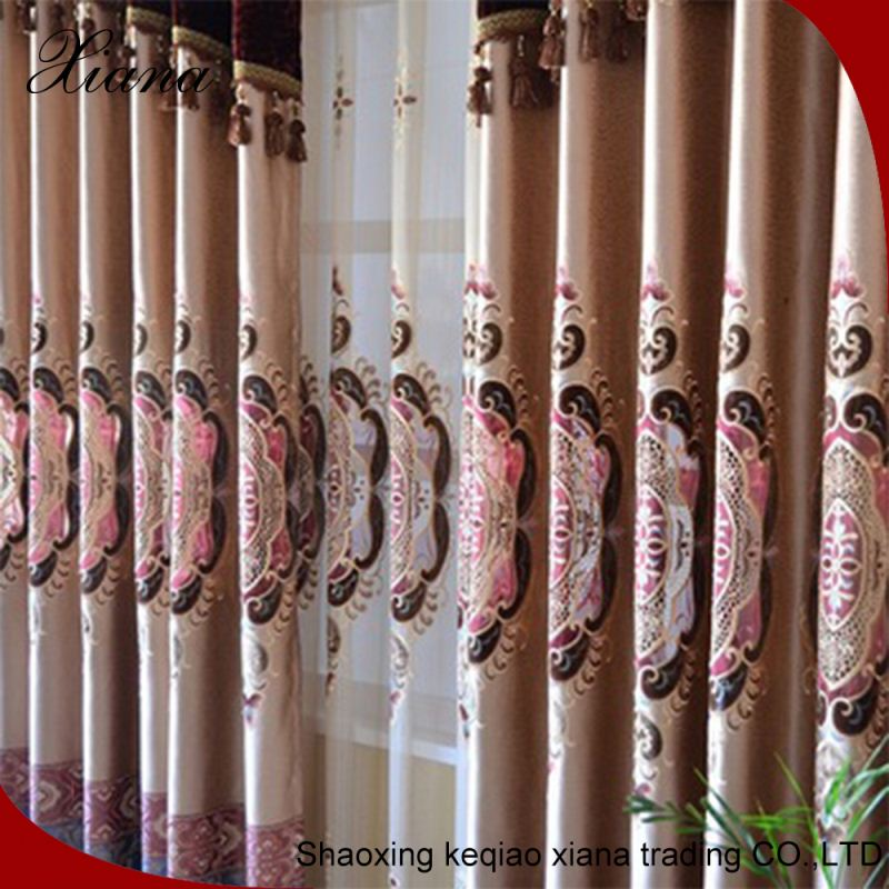 2016 Hot Sale Fashion Solid Sheer Voile Curtain New Design Crewel Embroidery design Fabric Curtain for door
