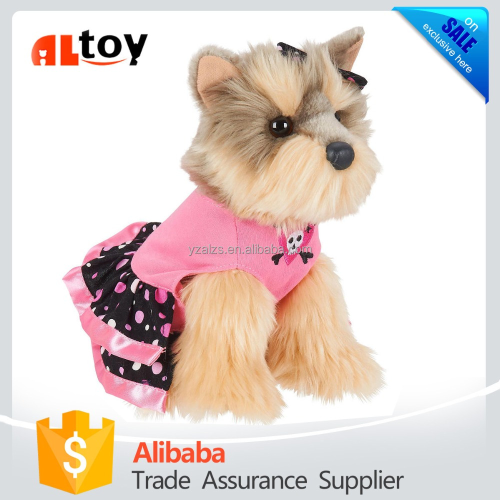 Lovely Sitting Dog in Pink Dress Plush Animal Toy