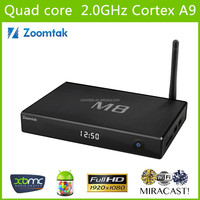 Aluminium case Zoomtak M8 quad core 4K smart tv box google internet tv box 2gb ram /8gb flash arabic iptv set top box