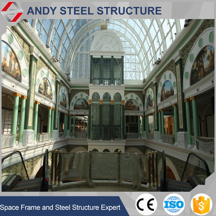 Tubular transparent skylight roof for shopping mall
