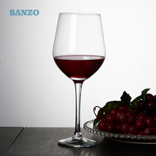 High capacity hand blown crystal stem wine glass