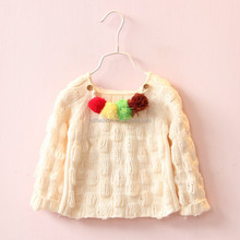 Custom knit pullover with colorfull pom poms korean kids fashion wholesale