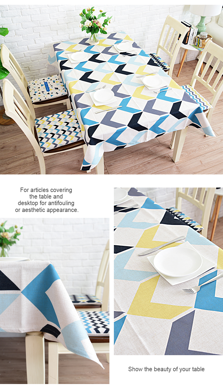 Latest designs digital print linen cloth table