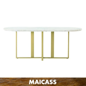 Contemporary Luxury Copper Brass Gold Metal Round White Marble Dining Table