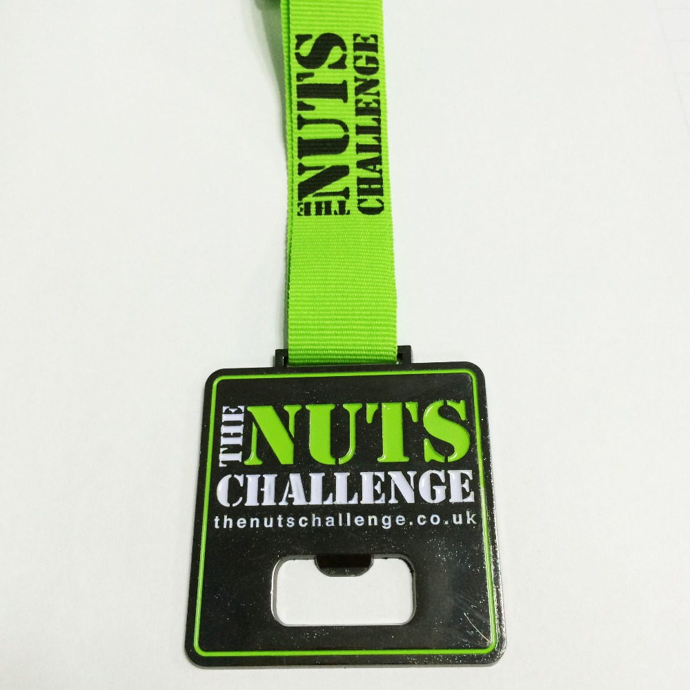 Challenge contest award custom medal for sport event use bottle opener medal in black nickel or gun metal