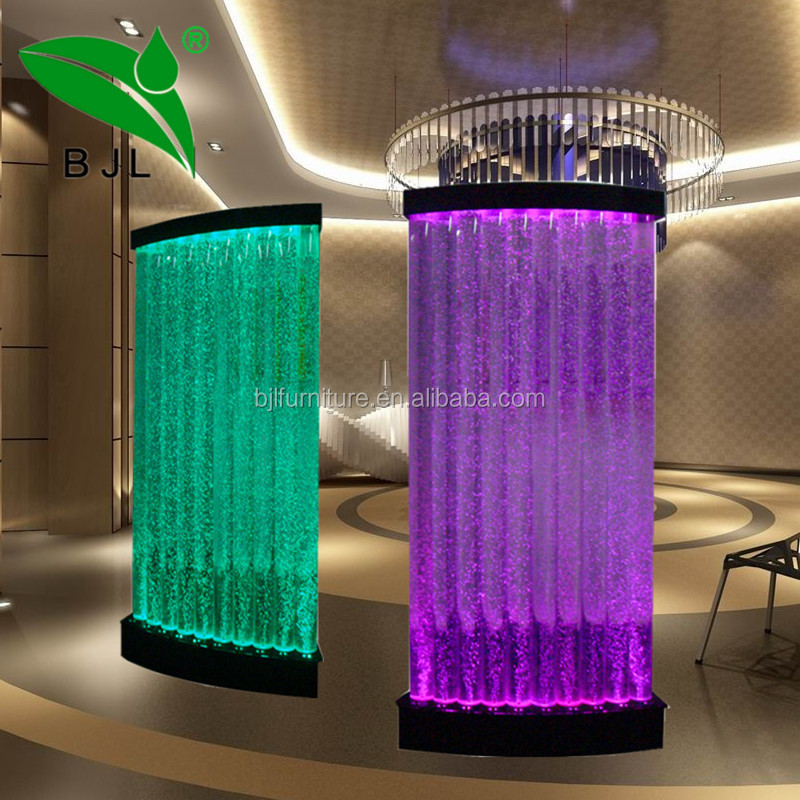 led room divider tube water bubble wall lighted acrylic display case