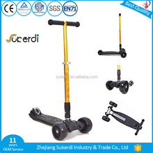 CE EN71 approved child age 6-16 golded color big wheel foot scooter kids heavy duty three wheel kick scooter