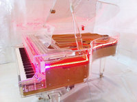 [Chloris] Solid Wood Keyboard Acrylic Crystal Piano HG-186A with LED Lighting Inside