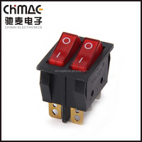 Double rocker switch with light KCD3-3 T125 16A 6 terminals CE TUV electrical switch
