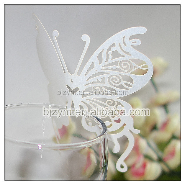wedding birthday event supplies white butterfly /sweet heart shape laser cut paper memory cards greetings card escort cup cards