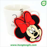 Promotional keyrings, custom made soft pvc keychain, Mickey Mouse rubber key holder