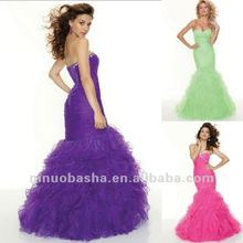 Purple and Peach Sweetheart Mermaid Organza Sequin Corset Prom Dress 2012