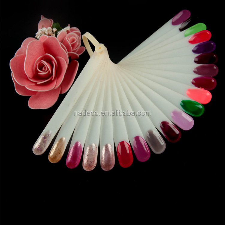 Best selling Natural Clear False Nail art Fan Board Tips Stick,Foldable Acrylic Nail Polish Color Chart Display
